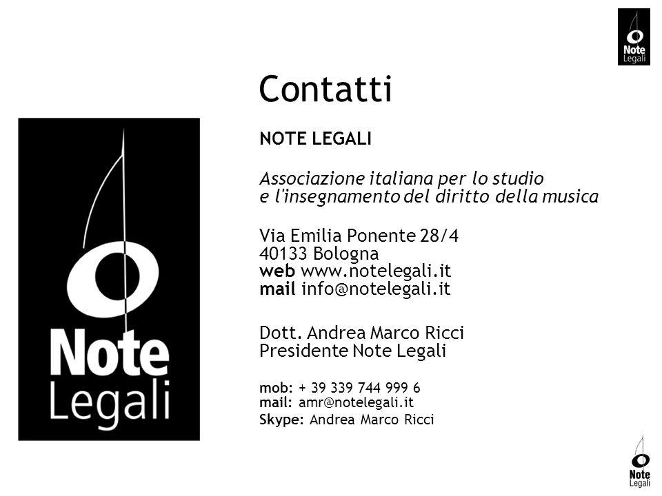 Contatti NOTE LEGALI Associazione italiana per lo studio e l'insegnamento del diritto della musica Via Emilia Ponente 28/4 40133 Bologna web www.notel