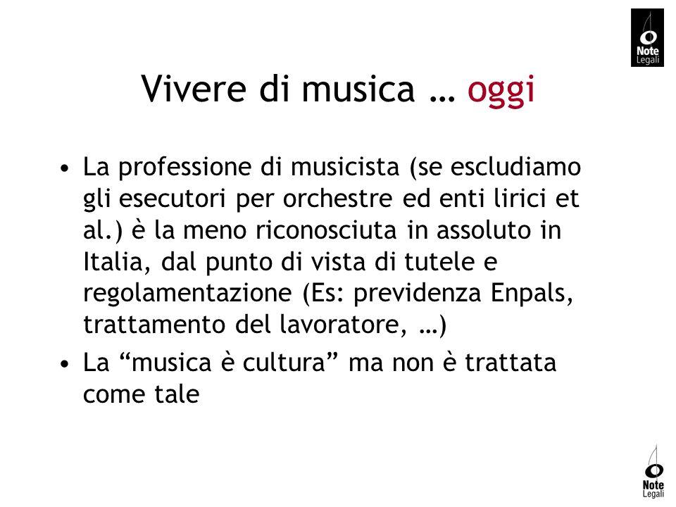 Vivere di musica … oggi La professione di musicista (se escludiamo gli esecutori per orchestre ed enti lirici et al.) è la meno riconosciuta in assolu