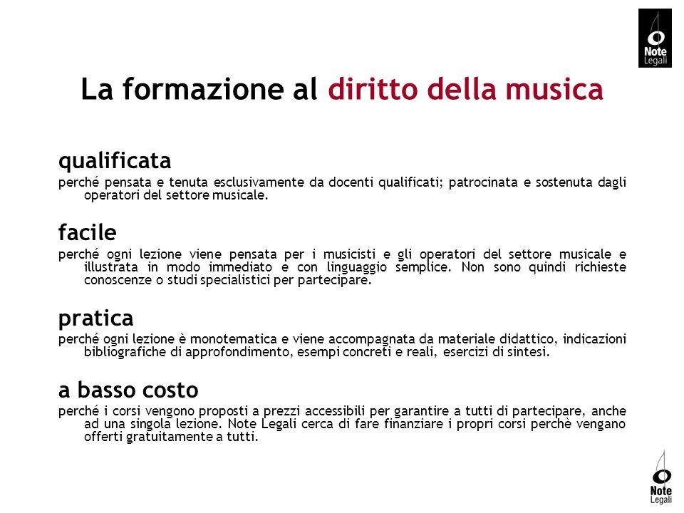 Contatti NOTE LEGALI Associazione italiana per lo studio e l insegnamento del diritto della musica Via Emilia Ponente 28/4 40133 Bologna web www.notelegali.it mail info@notelegali.it Dott.