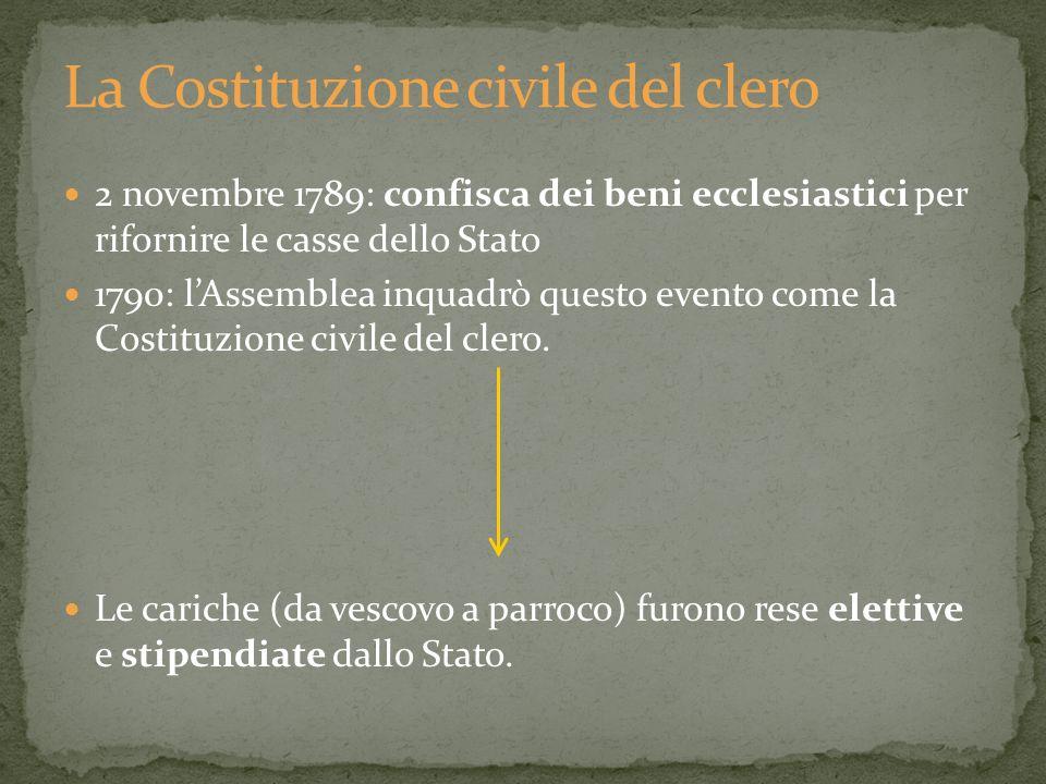 2 novembre 1789: confisca dei beni ecclesiastici per rifornire le casse dello Stato 1790: lAssemblea inquadrò questo evento come la Costituzione civil