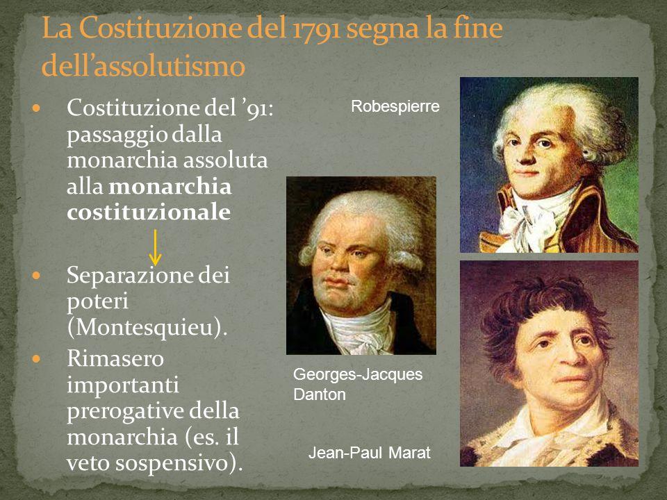 Costituzione del 91: passaggio dalla monarchia assoluta alla monarchia costituzionale Separazione dei poteri (Montesquieu). Rimasero importanti prerog