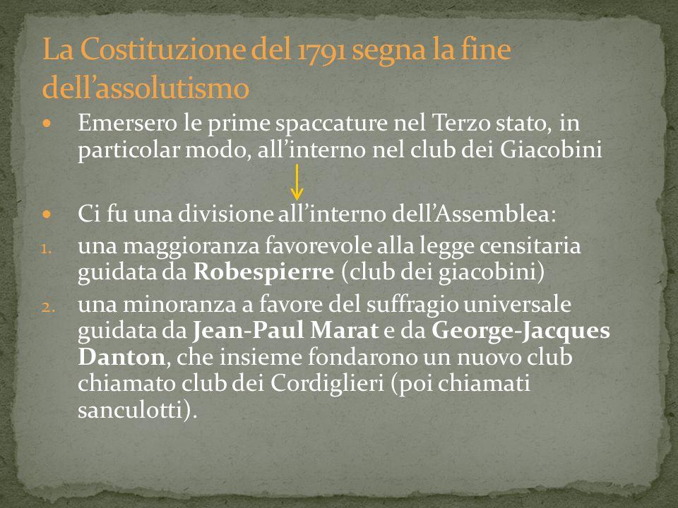 Emersero le prime spaccature nel Terzo stato, in particolar modo, allinterno nel club dei Giacobini Ci fu una divisione allinterno dellAssemblea: 1. u