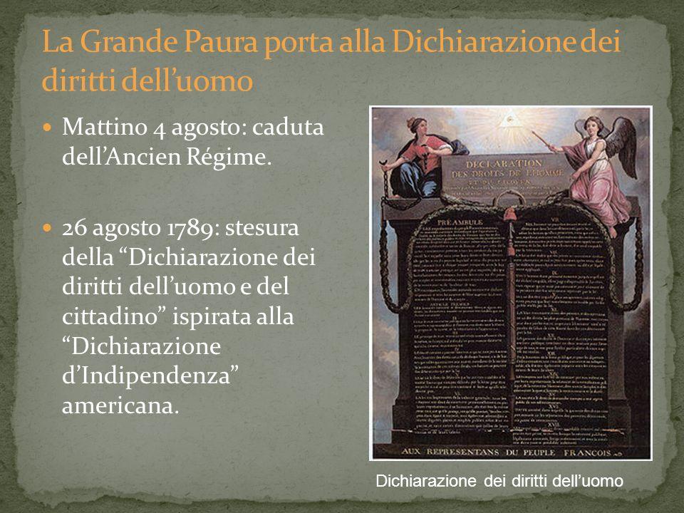 Mattino 4 agosto: caduta dellAncien Régime. 26 agosto 1789: stesura della Dichiarazione dei diritti delluomo e del cittadino ispirata alla Dichiarazio