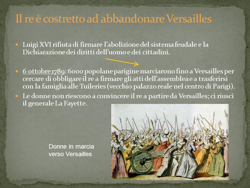 Luigi XVI rifiuta di firmare labolizione del sistema feudale e la Dichiarazione dei diritti delluomo e dei cittadini. 6 ottobre 1789: 6000 popolane pa