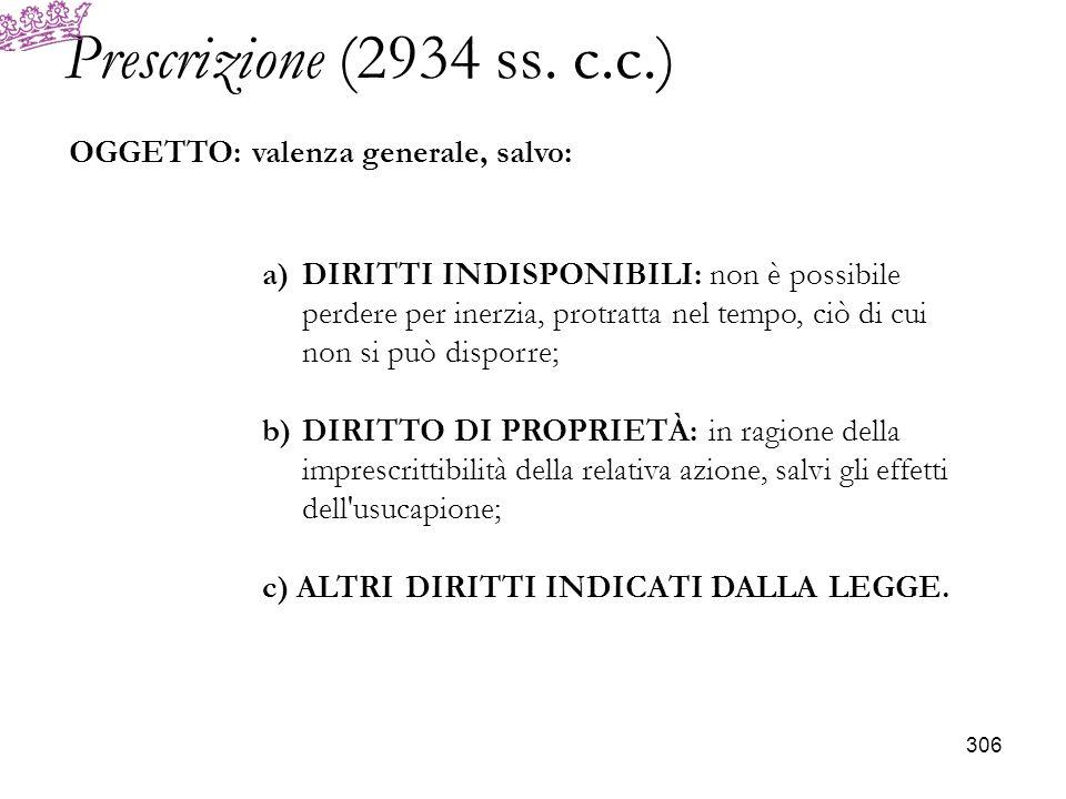 Prescrizione (2934 ss. c.c.) OGGETTO: valenza generale, salvo: a)DIRITTI INDISPONIBILI: non è possibile perdere per inerzia, protratta nel tempo, ciò