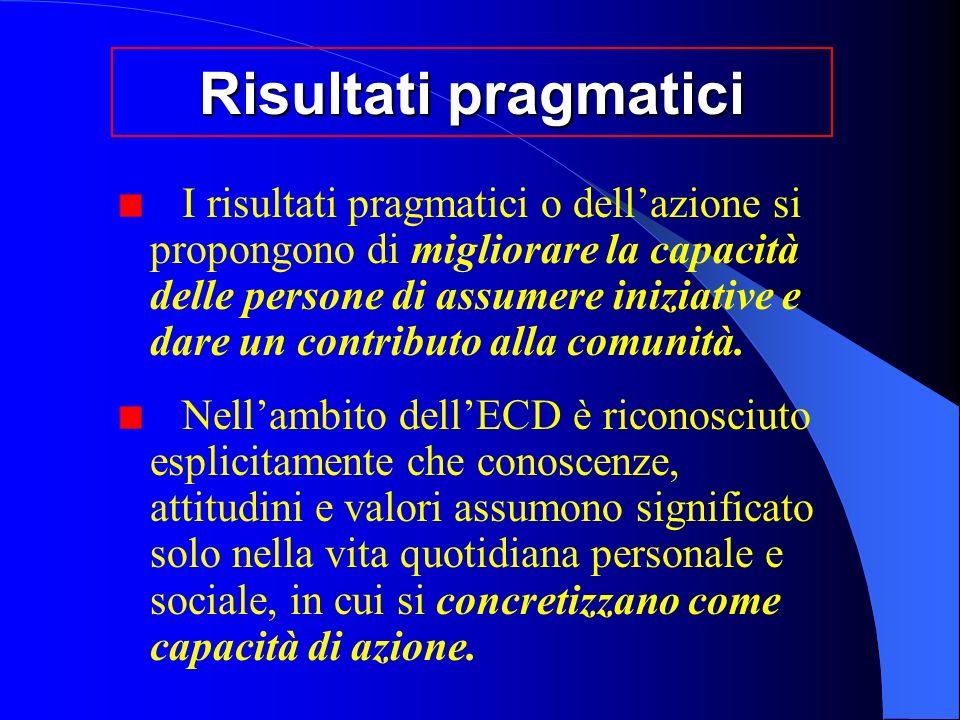 Risultati pragmatici I risultati pragmatici o dellazione si propongono di migliorare la capacità delle persone di assumere iniziative e dare un contributo alla comunità.