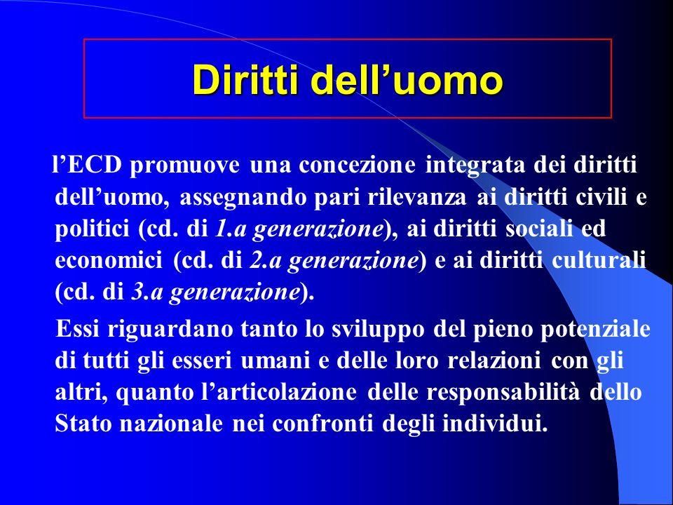 Diritti delluomo lECD promuove una concezione integrata dei diritti delluomo, assegnando pari rilevanza ai diritti civili e politici (cd.