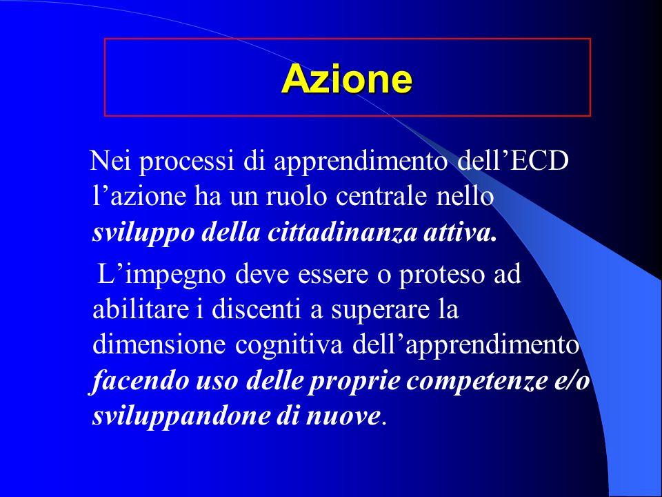 Azione Nei processi di apprendimento dellECD lazione ha un ruolo centrale nello sviluppo della cittadinanza attiva.