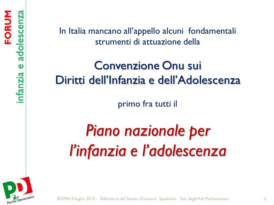 FORUM infanzia e adolescenza 23 Fonti 2° Rapporto Supplementare novembre 2009 I diritti dellinfanzia e delladolescenza in Italia Gruppo CRC (Convention on the Rights of the Child).
