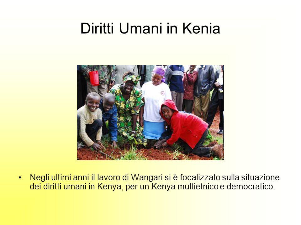 Diritti Umani in Kenia Negli ultimi anni il lavoro di Wangari si è focalizzato sulla situazione dei diritti umani in Kenya, per un Kenya multietnico e democratico.