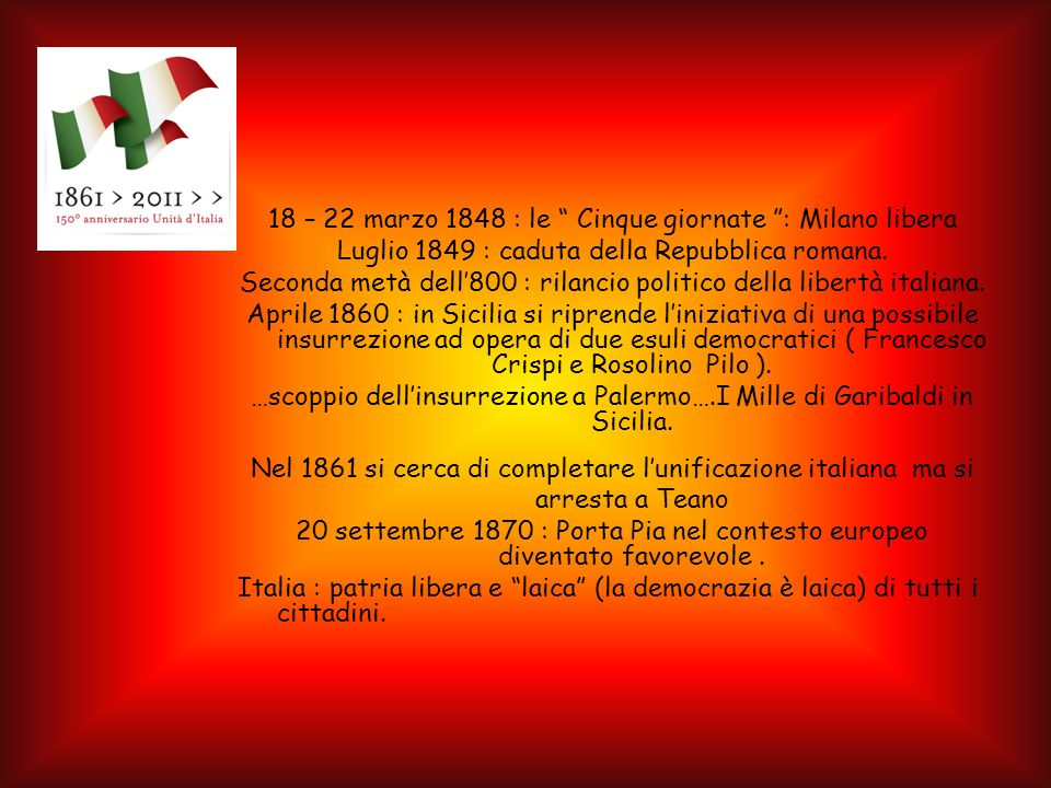 18 – 22 marzo 1848 : le Cinque giornate : Milano libera Luglio 1849 : caduta della Repubblica romana.