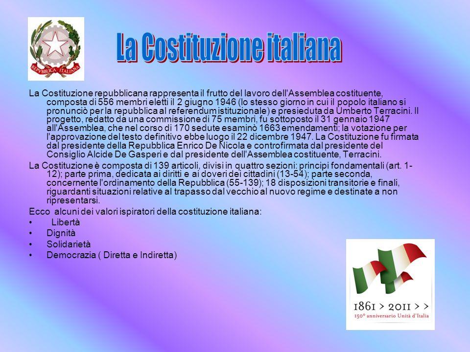 La Costituzione repubblicana rappresenta il frutto del lavoro dell Assemblea costituente, composta di 556 membri eletti il 2 giugno 1946 (lo stesso giorno in cui il popolo italiano si pronunciò per la repubblica al referendum istituzionale) e presieduta da Umberto Terracini.