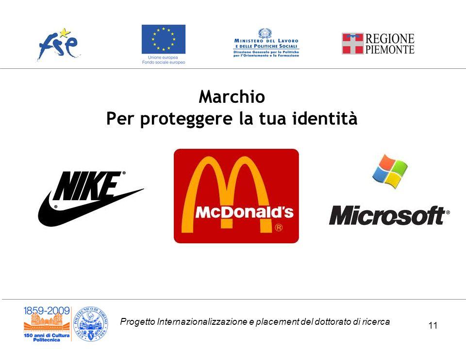 Progetto Internazionalizzazione e placement del dottorato di ricerca Marchio Per proteggere la tua identità 11