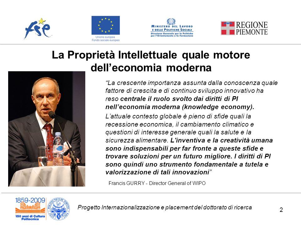 Progetto Internazionalizzazione e placement del dottorato di ricerca La Proprietà Intellettuale quale motore delleconomia moderna La crescente importa