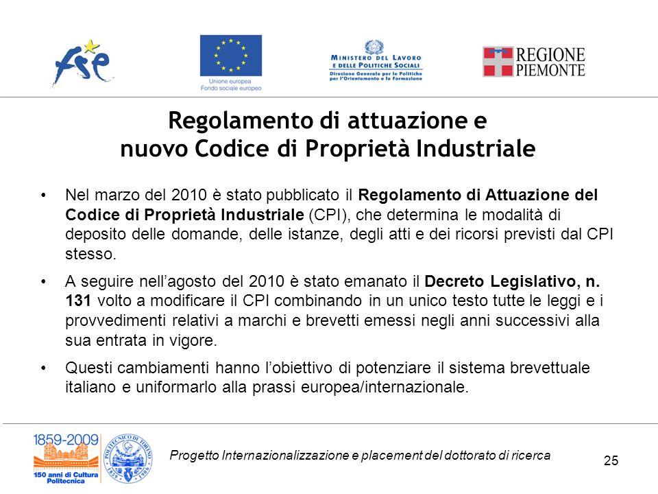 Progetto Internazionalizzazione e placement del dottorato di ricerca 25 Regolamento di attuazione e nuovo Codice di Proprietà Industriale Nel marzo de