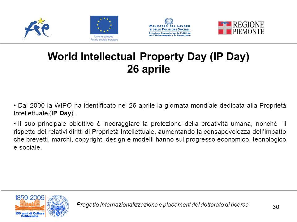 Progetto Internazionalizzazione e placement del dottorato di ricerca World Intellectual Property Day (IP Day) 26 aprile Dal 2000 la WIPO ha identifica