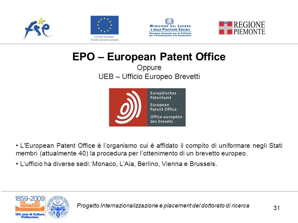 Progetto Internazionalizzazione e placement del dottorato di ricerca EPO – European Patent Office Oppure UEB – Ufficio Europeo Brevetti L'European Pat