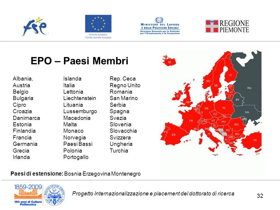 Progetto Internazionalizzazione e placement del dottorato di ricerca EPO – Paesi Membri Albania, Austria Belgio Bulgaria Cipro Croazia Danimarca Eston