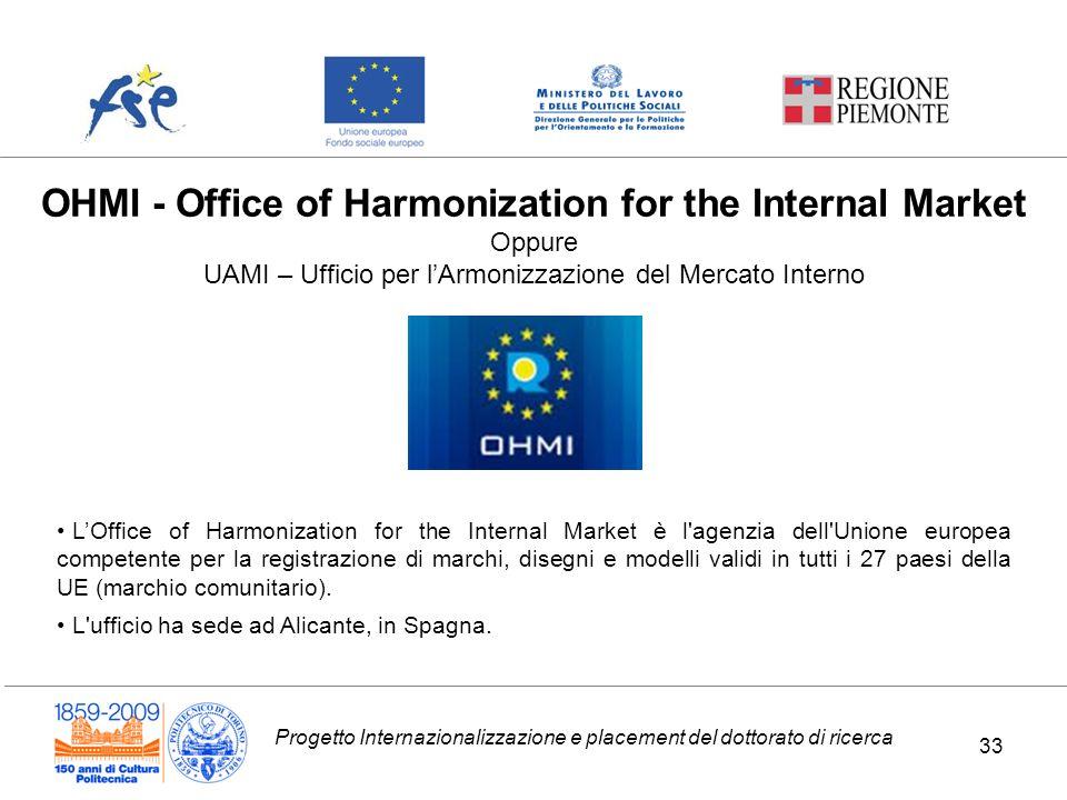 Progetto Internazionalizzazione e placement del dottorato di ricerca OHMI - Office of Harmonization for the Internal Market Oppure UAMI – Ufficio per