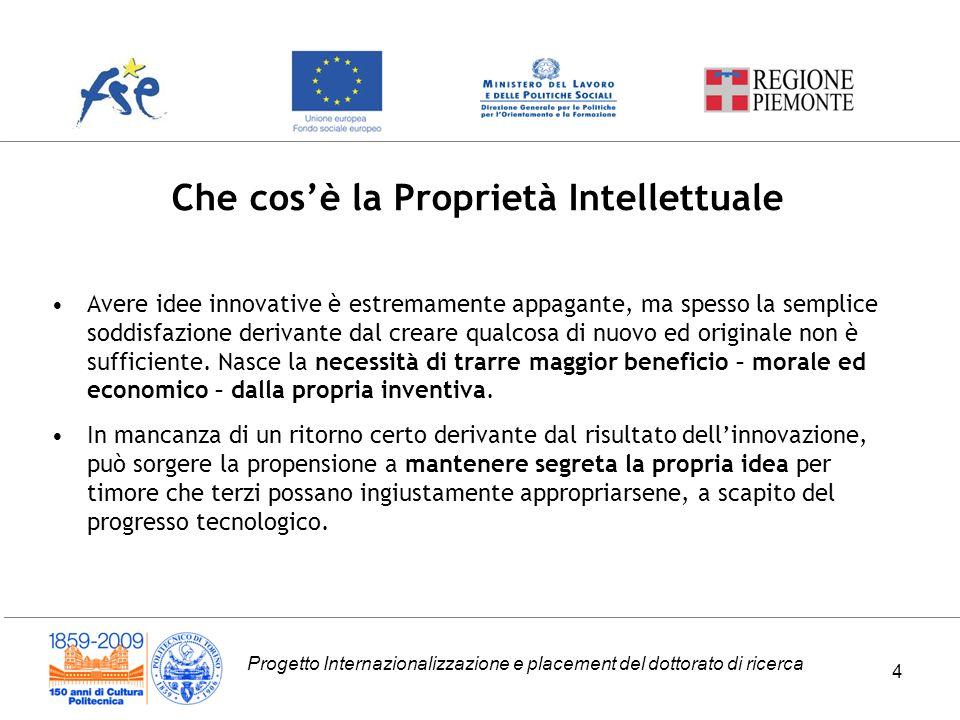 Progetto Internazionalizzazione e placement del dottorato di ricerca Che cosè la Proprietà Intellettuale 4 Avere idee innovative è estremamente appaga