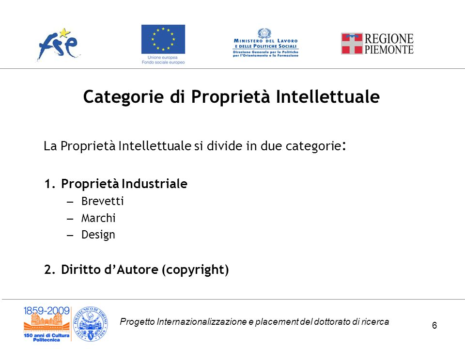 Progetto Internazionalizzazione e placement del dottorato di ricerca Categorie di Proprietà Intellettuale 6 La Proprietà Intellettuale si divide in du