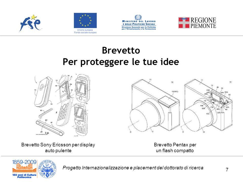 Progetto Internazionalizzazione e placement del dottorato di ricerca Brevetto Per proteggere le tue idee Brevetto Sony Ericsson per display auto pulen