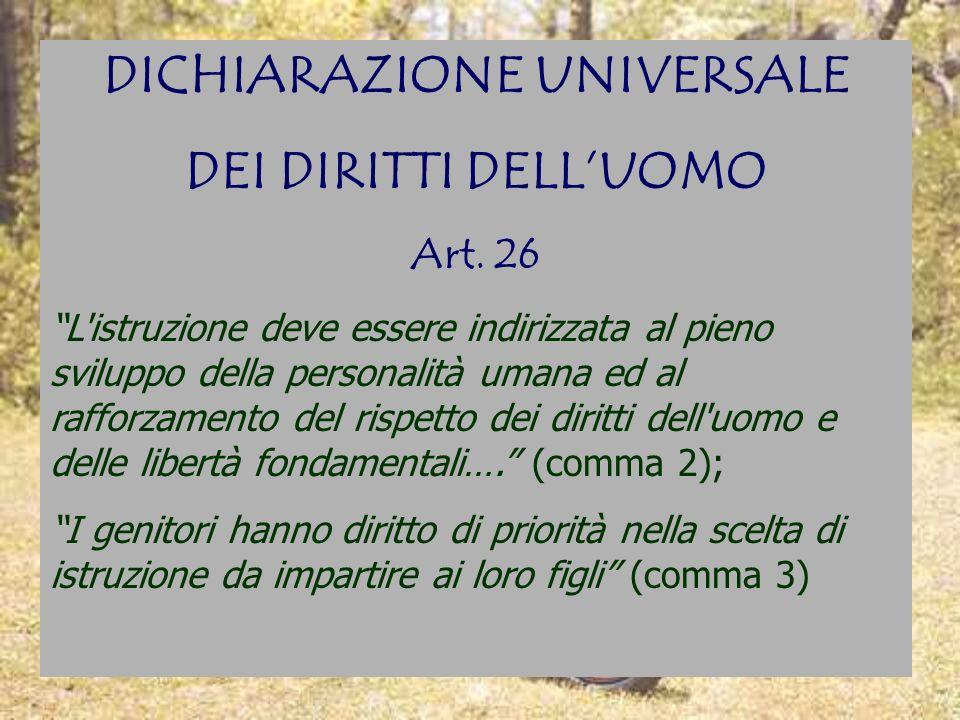 DICHIARAZIONE UNIVERSALE DEI DIRITTI DELLUOMO Art. 26 L'istruzione deve essere indirizzata al pieno sviluppo della personalità umana ed al rafforzamen