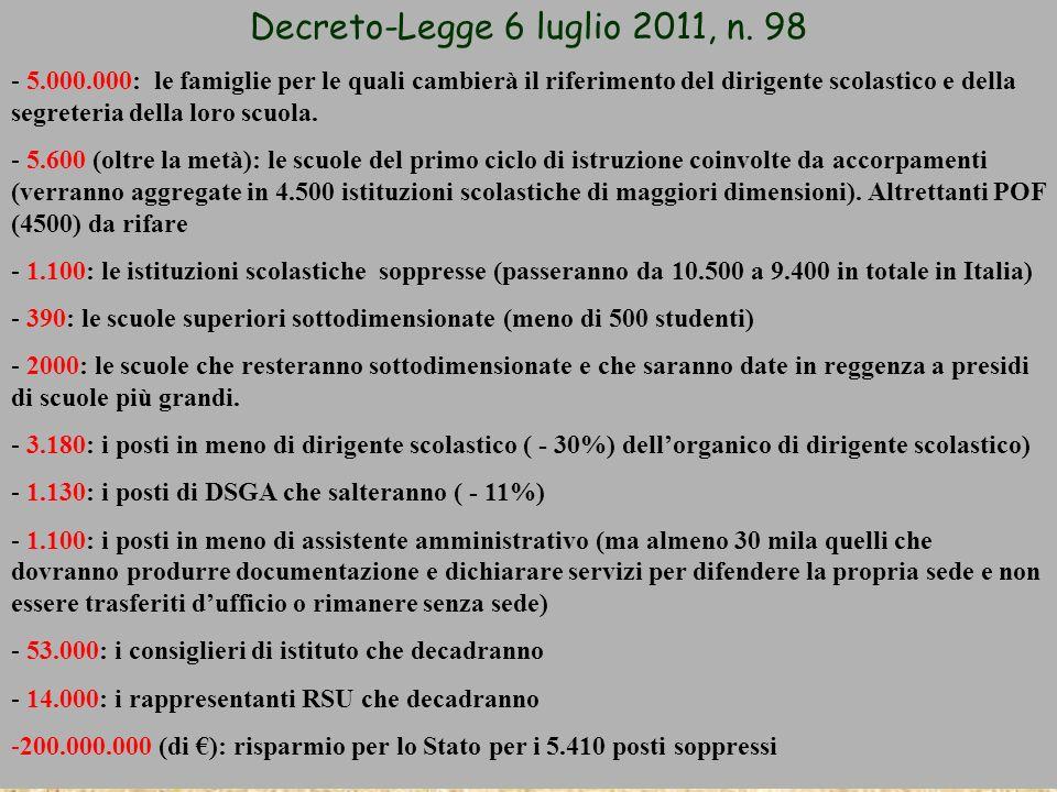 Decreto-Legge 6 luglio 2011, n. 98 - 5.000.000: le famiglie per le quali cambierà il riferimento del dirigente scolastico e della segreteria della lor