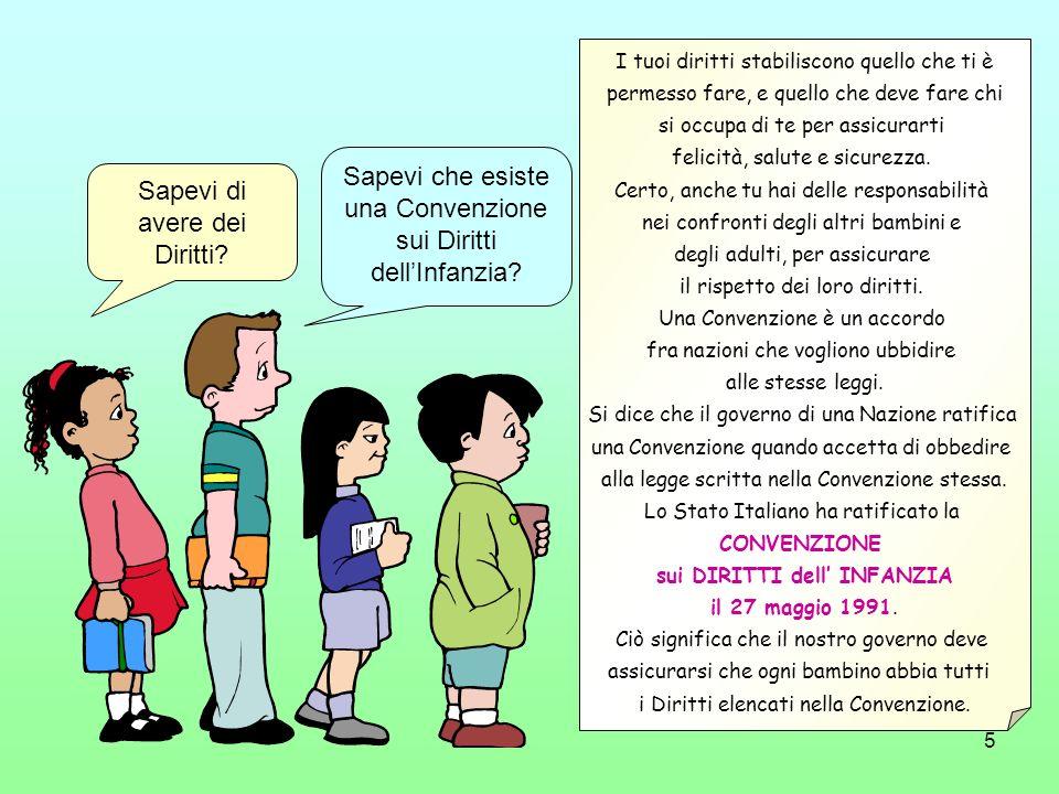 5 Sapevi di avere dei Diritti? Sapevi che esiste una Convenzione sui Diritti dellInfanzia? I tuoi diritti stabiliscono quello che ti è permesso fare,