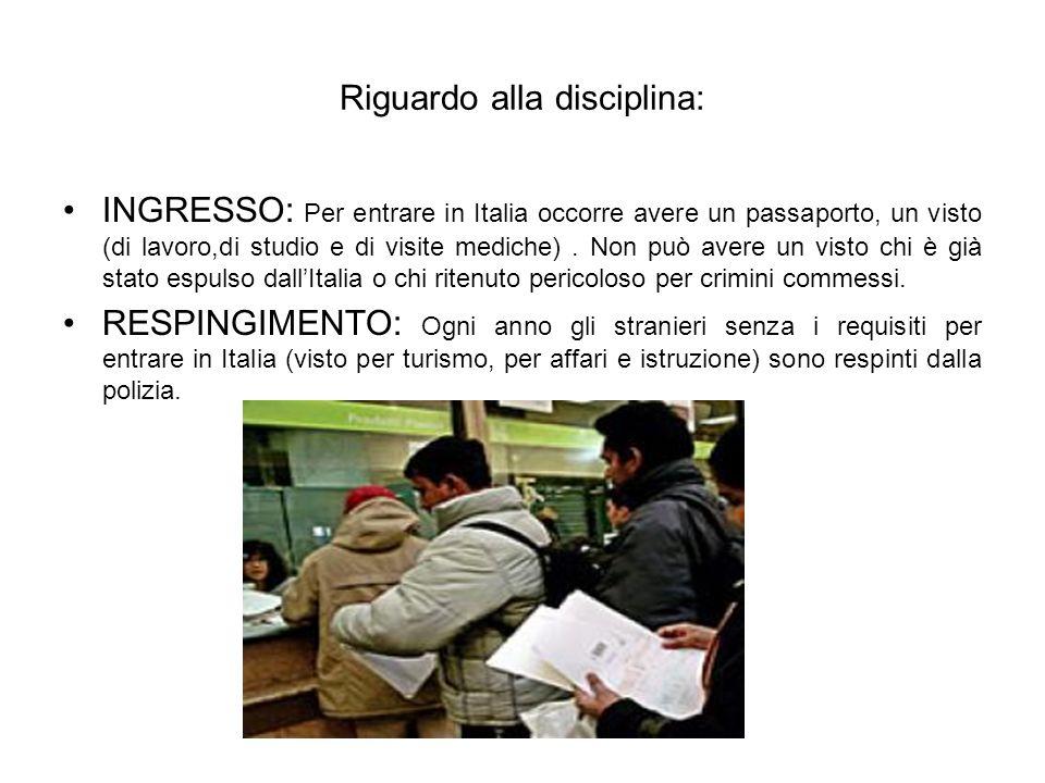 Riguardo alla disciplina: INGRESSO: Per entrare in Italia occorre avere un passaporto, un visto (di lavoro,di studio e di visite mediche).