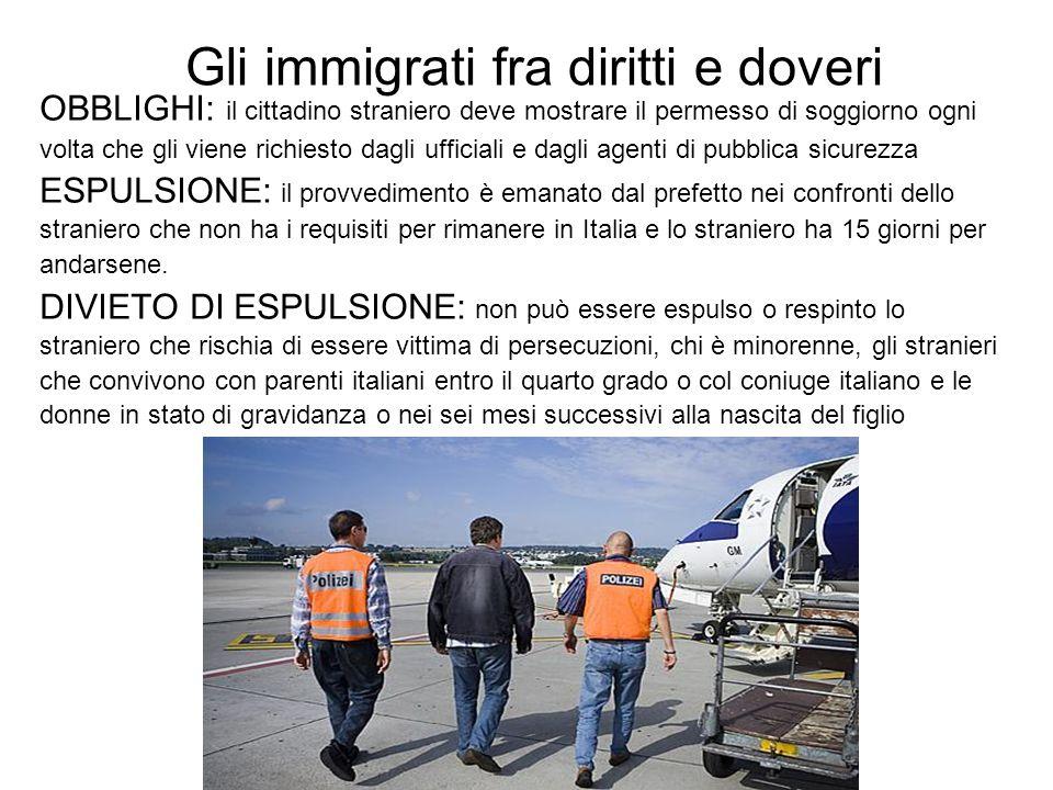 Gli immigrati fra diritti e doveri OBBLIGHI: il cittadino straniero deve mostrare il permesso di soggiorno ogni volta che gli viene richiesto dagli uf