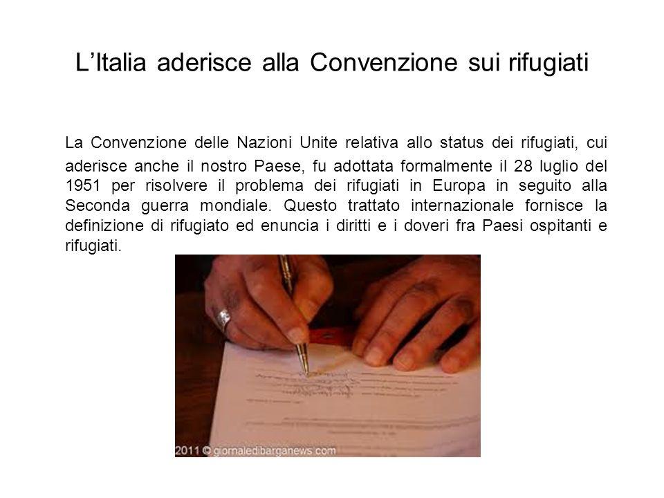 LItalia aderisce alla Convenzione sui rifugiati La Convenzione delle Nazioni Unite relativa allo status dei rifugiati, cui aderisce anche il nostro Pa
