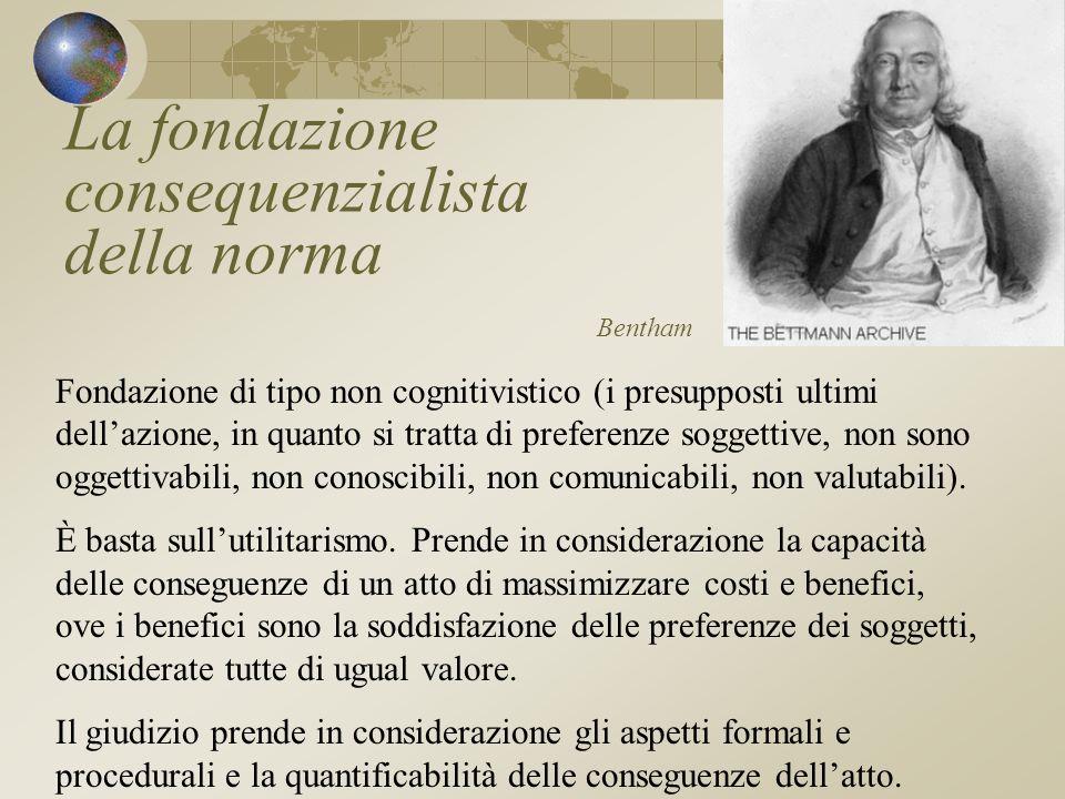 La fondazione consequenzialista della norma Bentham Fondazione di tipo non cognitivistico (i presupposti ultimi dellazione, in quanto si tratta di preferenze soggettive, non sono oggettivabili, non conoscibili, non comunicabili, non valutabili).