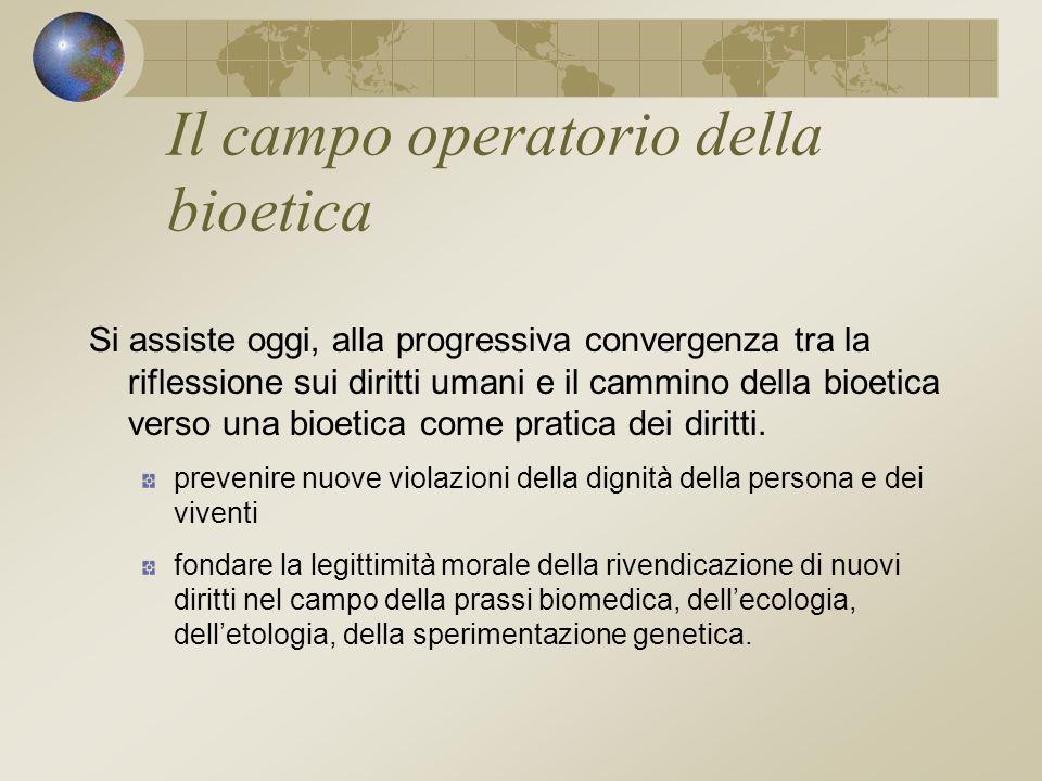 Il campo operatorio della bioetica Si assiste oggi, alla progressiva convergenza tra la riflessione sui diritti umani e il cammino della bioetica verso una bioetica come pratica dei diritti.