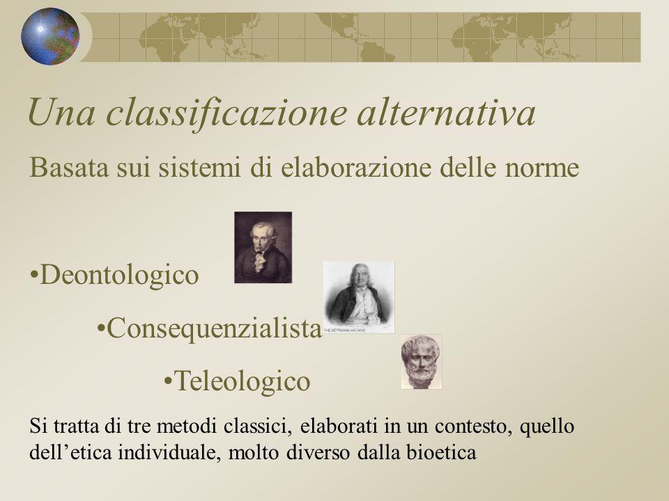 Una classificazione alternativa Basata sui sistemi di elaborazione delle norme Deontologico Consequenzialista Teleologico Si tratta di tre metodi classici, elaborati in un contesto, quello delletica individuale, molto diverso dalla bioetica