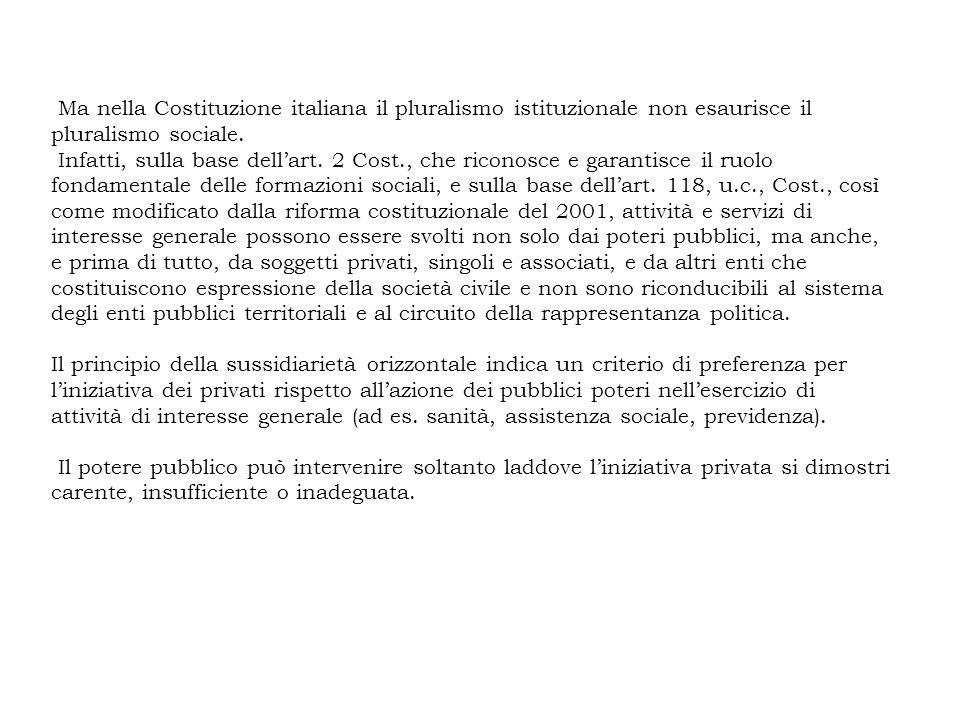 Ma nella Costituzione italiana il pluralismo istituzionale non esaurisce il pluralismo sociale. Infatti, sulla base dellart. 2 Cost., che riconosce e