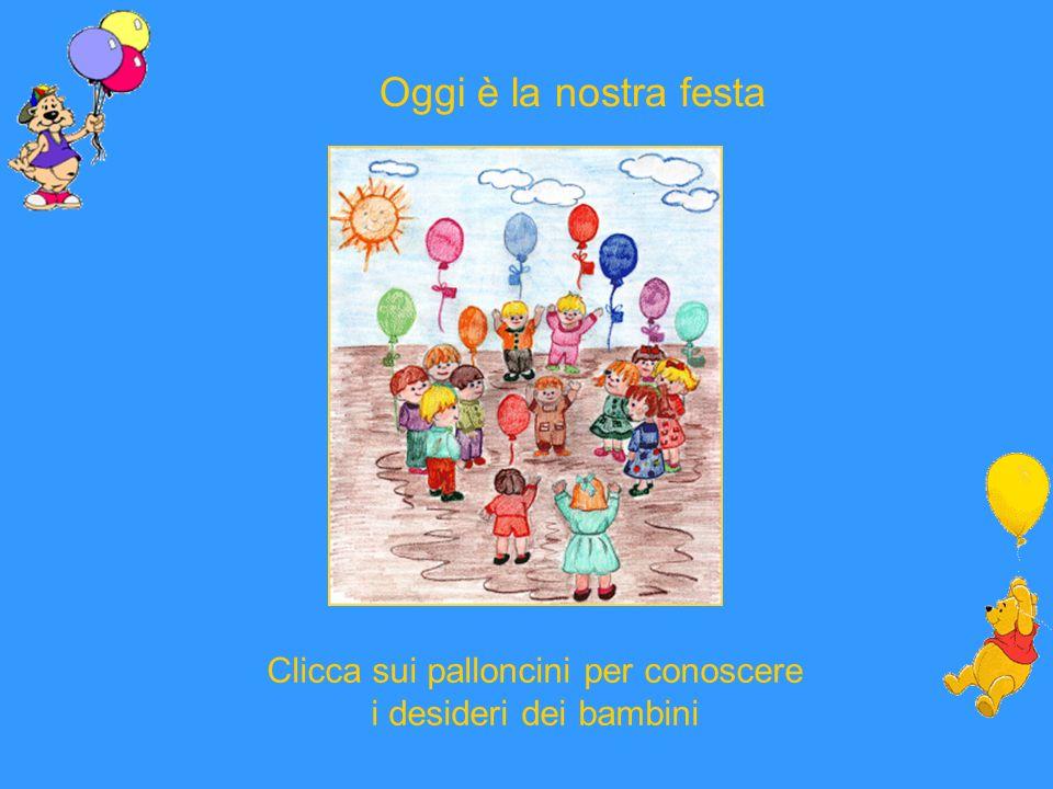Oggi è la nostra festa Clicca sui palloncini per conoscere i desideri dei bambini