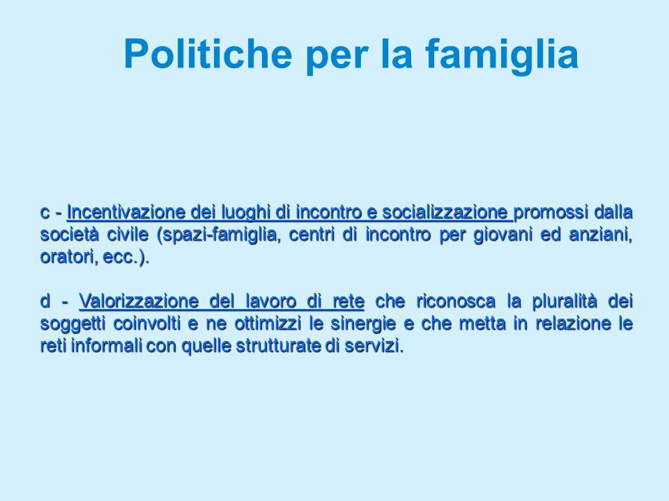 Politiche per la famiglia c - Incentivazione dei luoghi di incontro e socializzazione promossi dalla società civile (spazi-famiglia, centri di incontro per giovani ed anziani, oratori, ecc.).