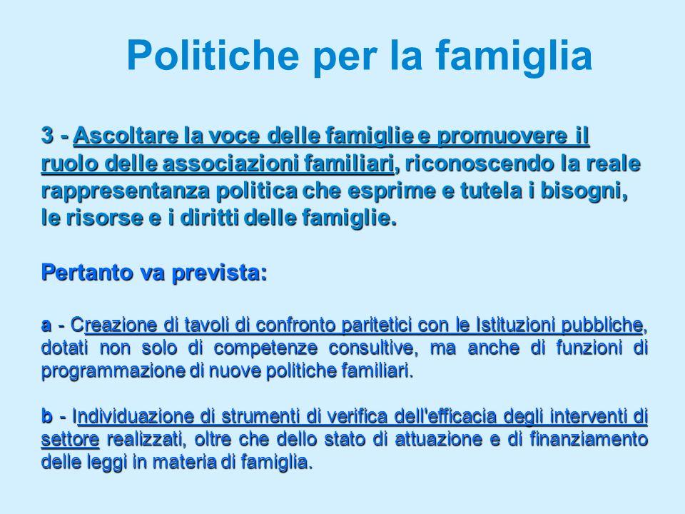 Politiche per la famiglia 3 - Ascoltare la voce delle famiglie e promuovere il ruolo delle associazioni familiari, riconoscendo la reale rappresentanza politica che esprime e tutela i bisogni, le risorse e i diritti delle famiglie.