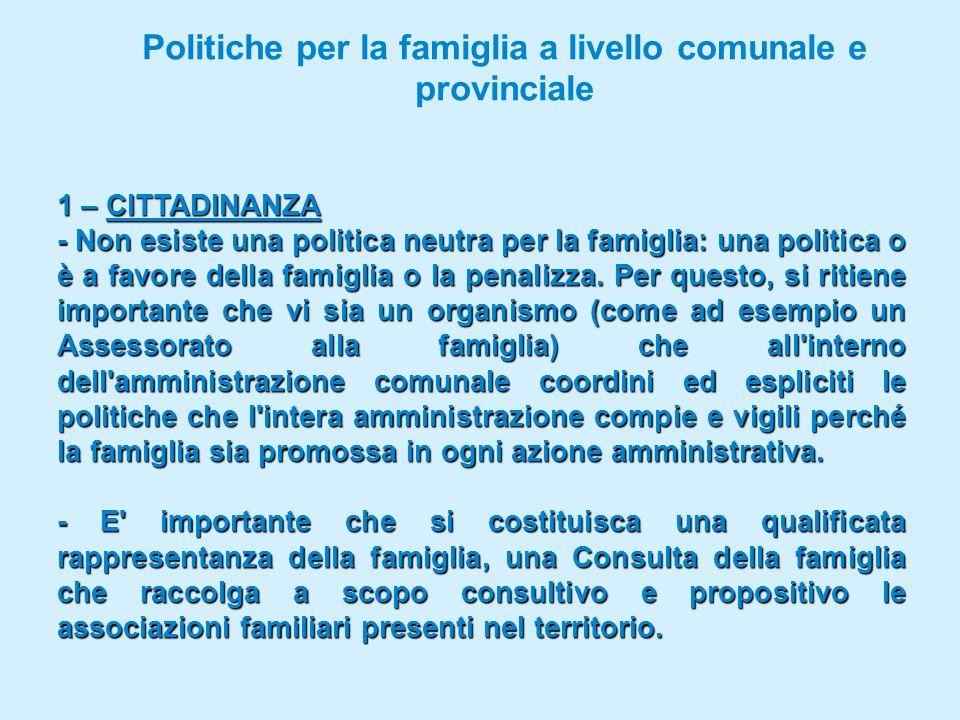 Politiche per la famiglia a livello comunale e provinciale 1 – CITTADINANZA - Non esiste una politica neutra per la famiglia: una politica o è a favore della famiglia o la penalizza.
