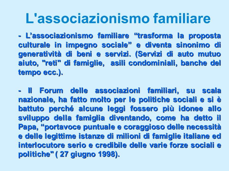 L associazionismo familiare - Lassociazionismo familiare trasforma la proposta culturale in impegno sociale e diventa sinonimo di generatività di beni e servizi.