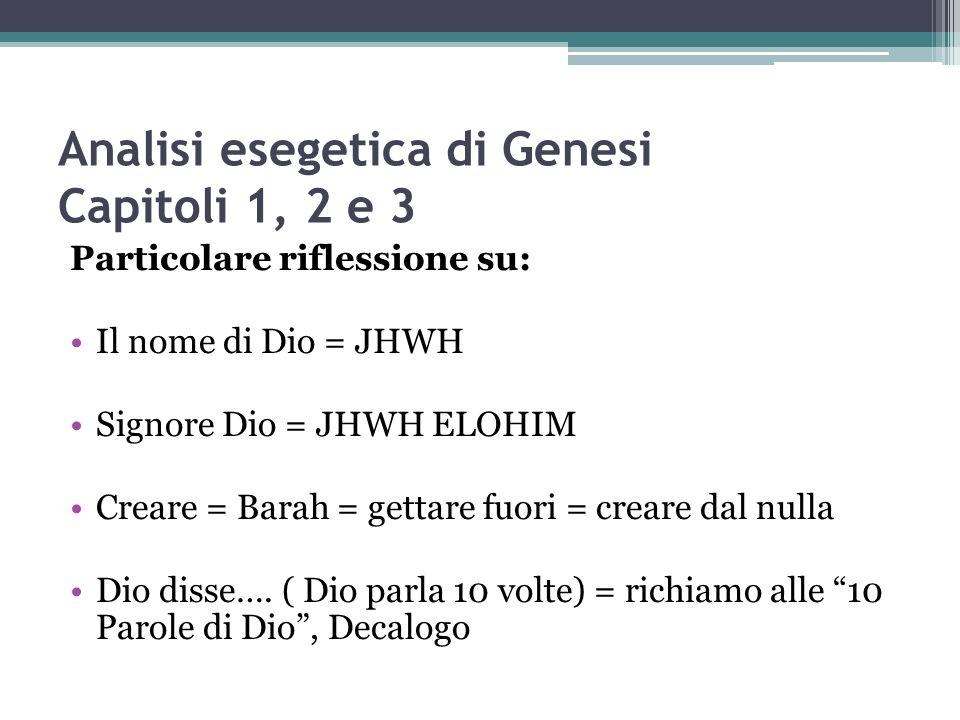 Analisi esegetica di Genesi Capitoli 1, 2 e 3 Particolare riflessione su: Il nome di Dio = JHWH Signore Dio = JHWH ELOHIM Creare = Barah = gettare fuo