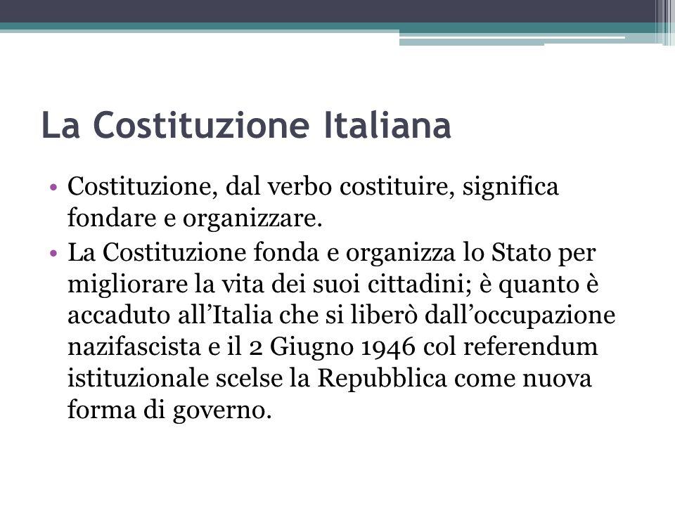 La Costituzione Italiana Costituzione, dal verbo costituire, significa fondare e organizzare. La Costituzione fonda e organizza lo Stato per migliorar
