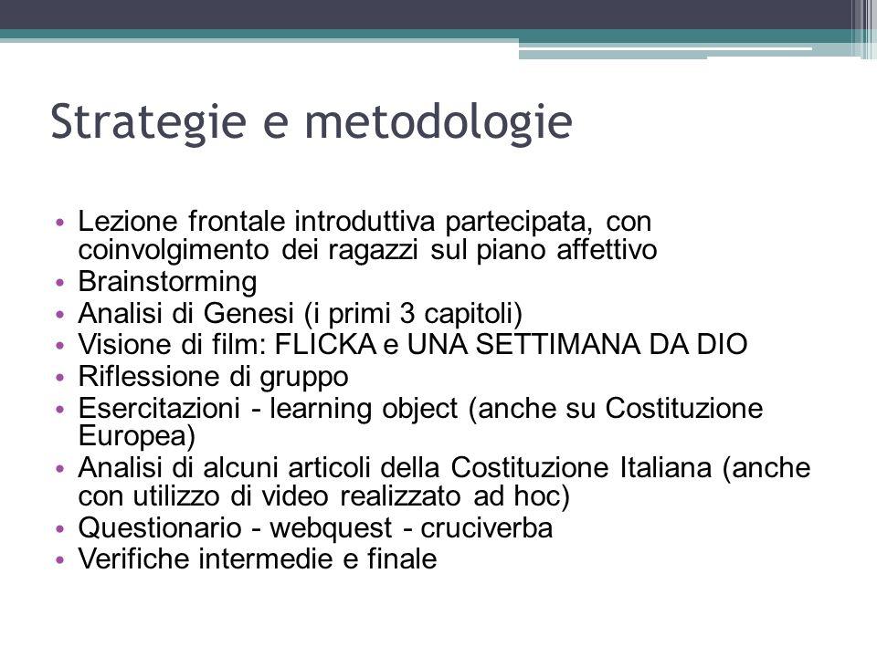 Strategie e metodologie Lezione frontale introduttiva partecipata, con coinvolgimento dei ragazzi sul piano affettivo Brainstorming Analisi di Genesi