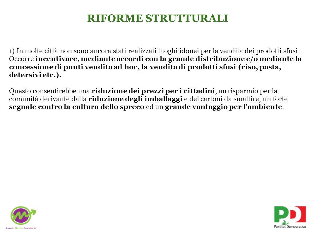 RIFORME STRUTTURALI 2) I piccoli produttori non hanno facile accesso aIla distribuzione.