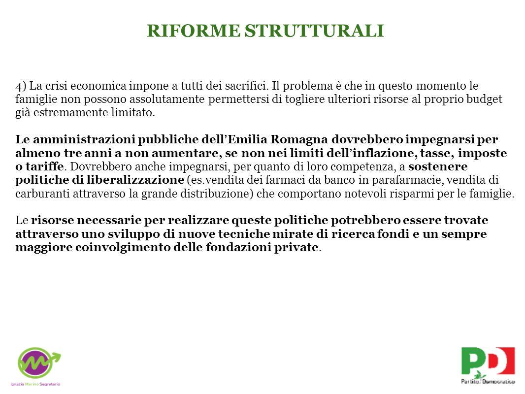 RIFORME STRUTTURALI 4) La crisi economica impone a tutti dei sacrifici.