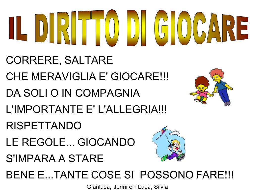 CORRERE, SALTARE CHE MERAVIGLIA E' GIOCARE!!! DA SOLI O IN COMPAGNIA L'IMPORTANTE E' L'ALLEGRIA!!! RISPETTANDO LE REGOLE... GIOCANDO S'IMPARA A STARE