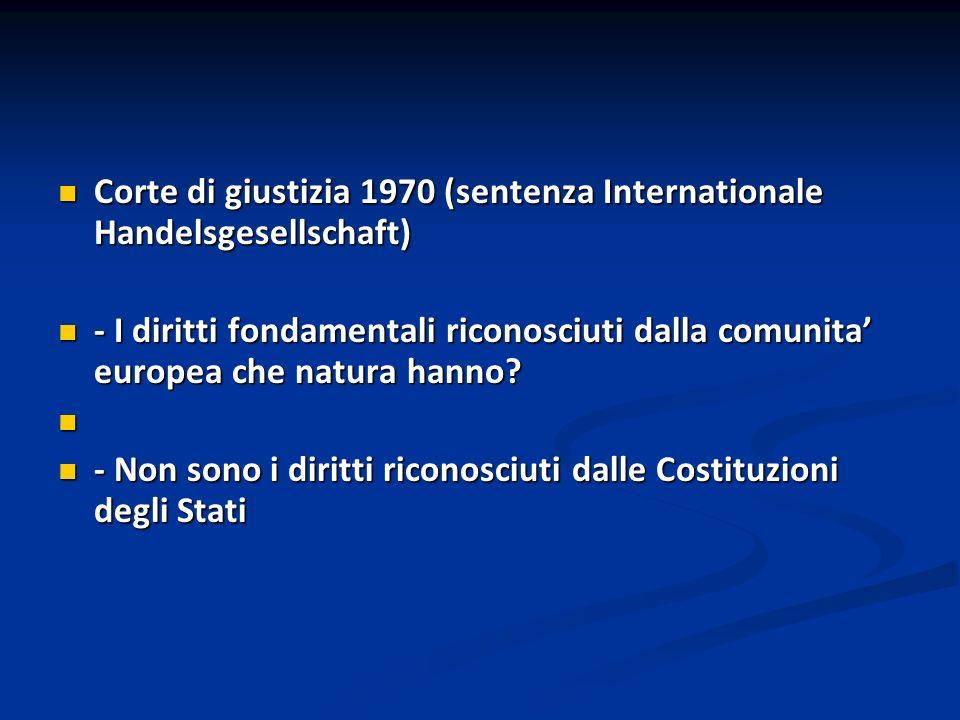 Corte di giustizia 1970 (sentenza Internationale Handelsgesellschaft) Corte di giustizia 1970 (sentenza Internationale Handelsgesellschaft) - I diritt
