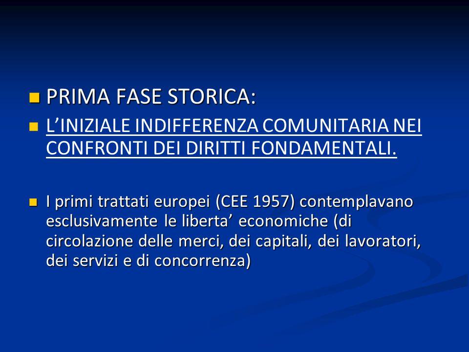 PRIMA FASE STORICA: PRIMA FASE STORICA: LINIZIALE INDIFFERENZA COMUNITARIA NEI CONFRONTI DEI DIRITTI FONDAMENTALI. I primi trattati europei (CEE 1957)