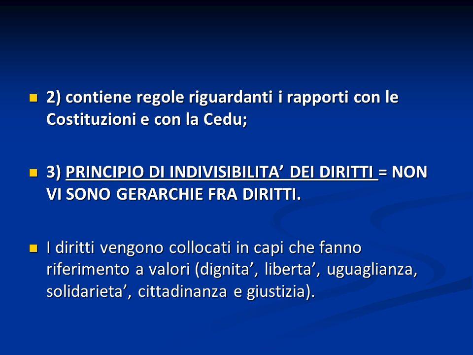 2) contiene regole riguardanti i rapporti con le Costituzioni e con la Cedu; 2) contiene regole riguardanti i rapporti con le Costituzioni e con la Ce